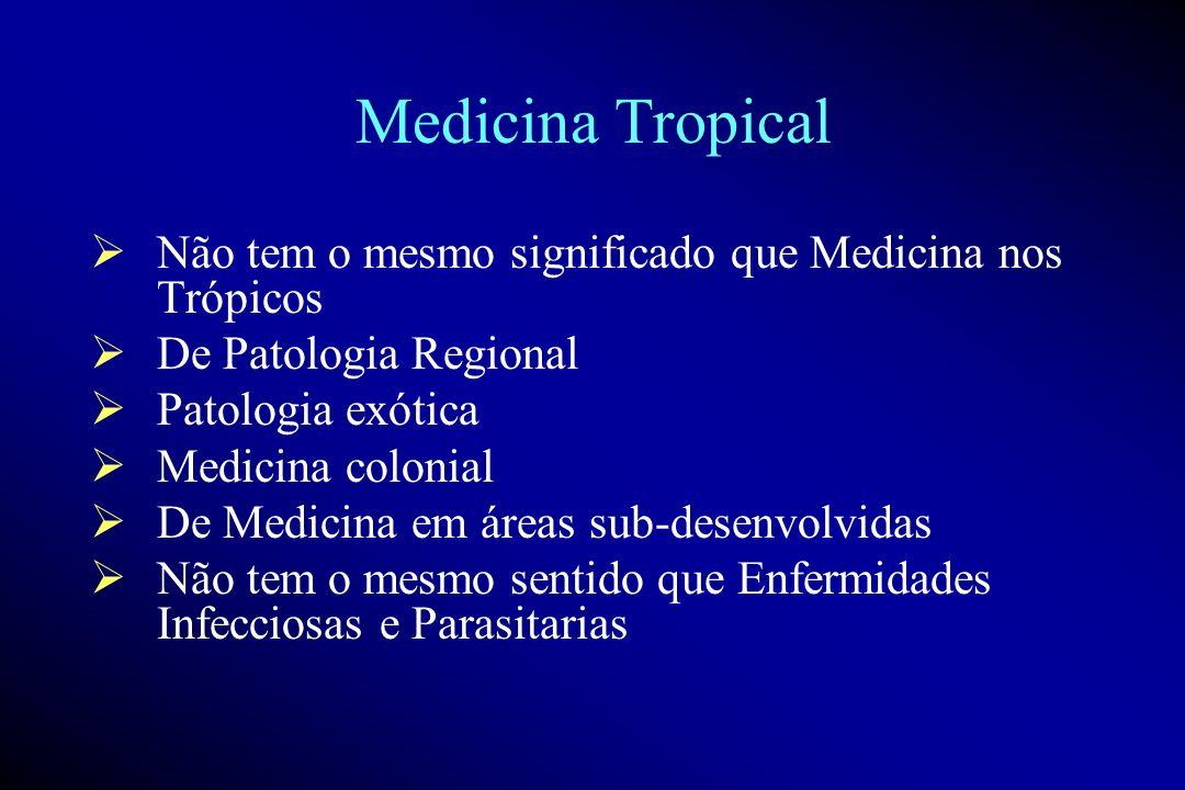 Medicina Tropical Não tem o mesmo significado que Medicina nos Trópicos. De Patologia Regional. Patologia exótica.