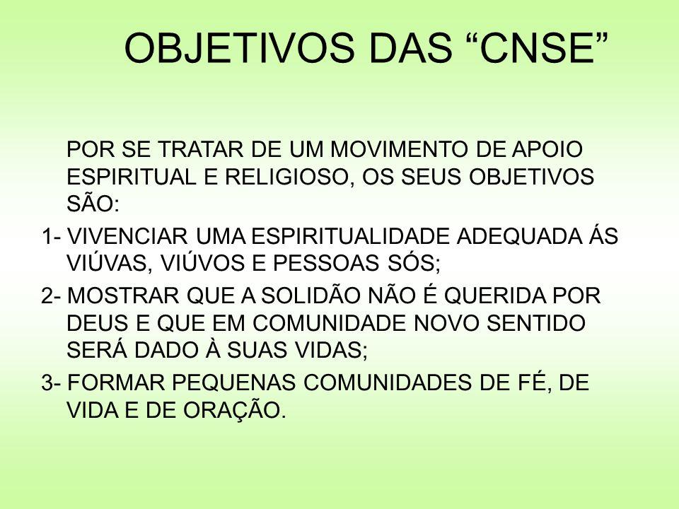 OBJETIVOS DAS CNSE POR SE TRATAR DE UM MOVIMENTO DE APOIO ESPIRITUAL E RELIGIOSO, OS SEUS OBJETIVOS SÃO: