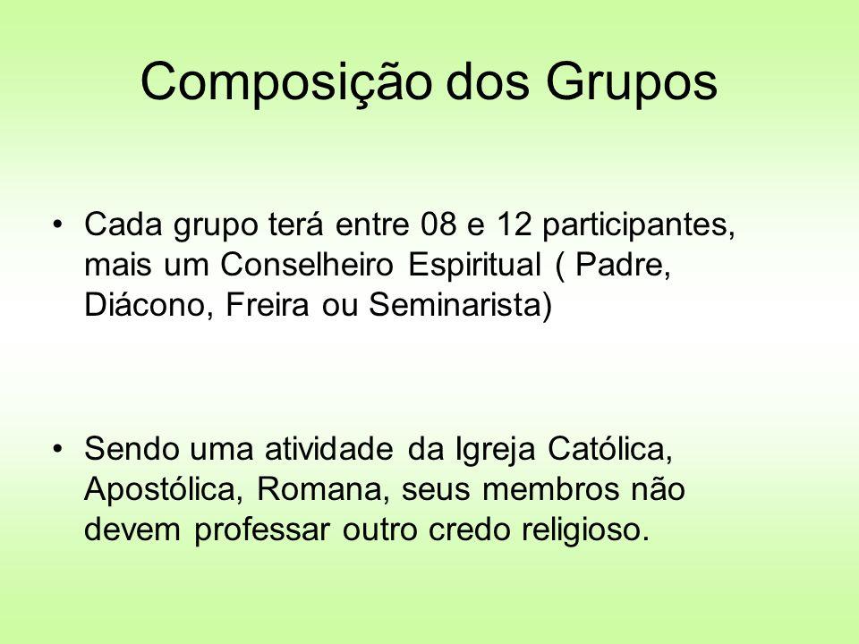 Composição dos Grupos Cada grupo terá entre 08 e 12 participantes, mais um Conselheiro Espiritual ( Padre, Diácono, Freira ou Seminarista)