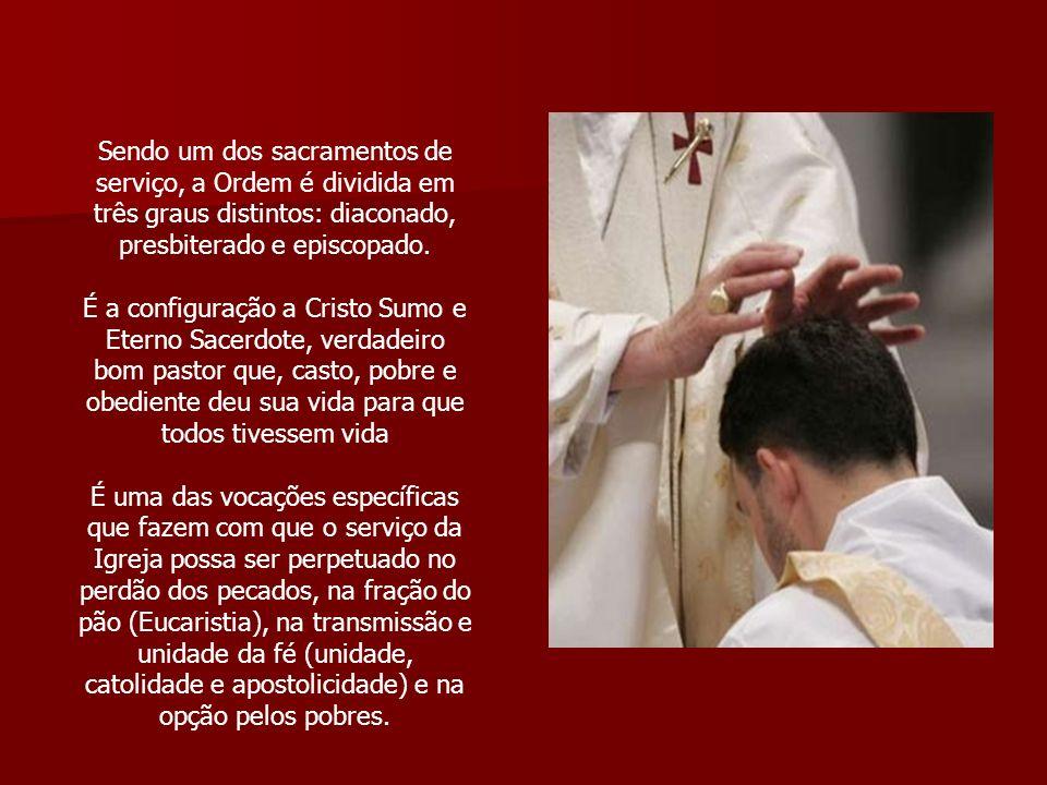 Sendo um dos sacramentos de serviço, a Ordem é dividida em três graus distintos: diaconado, presbiterado e episcopado.