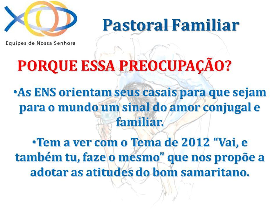 Pastoral Familiar PORQUE ESSA PREOCUPAÇÃO