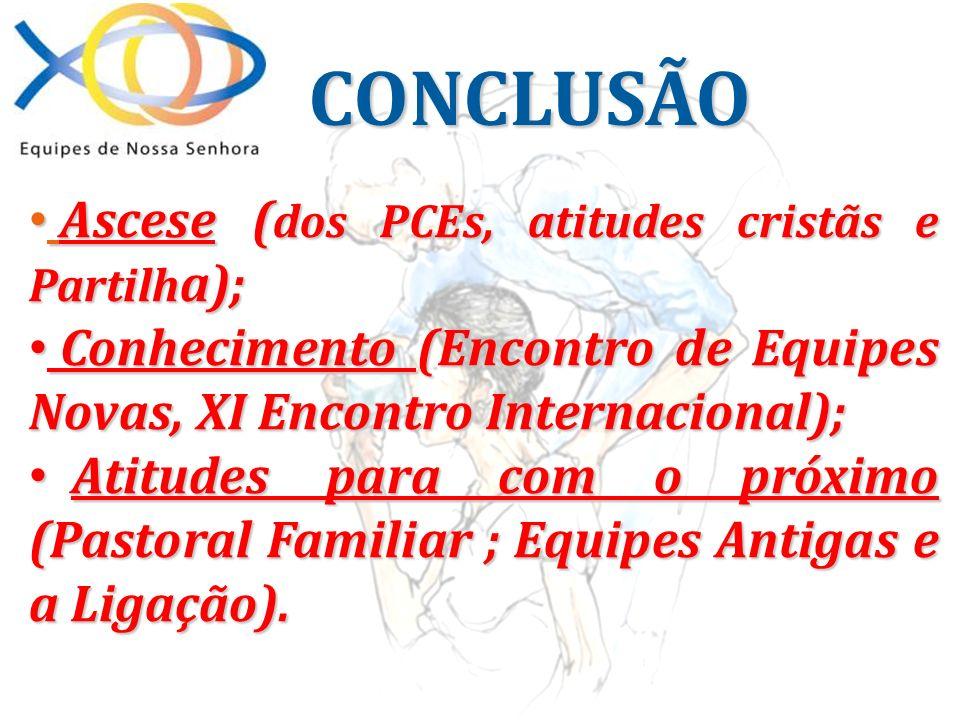 CONCLUSÃO Ascese (dos PCEs, atitudes cristãs e Partilha);
