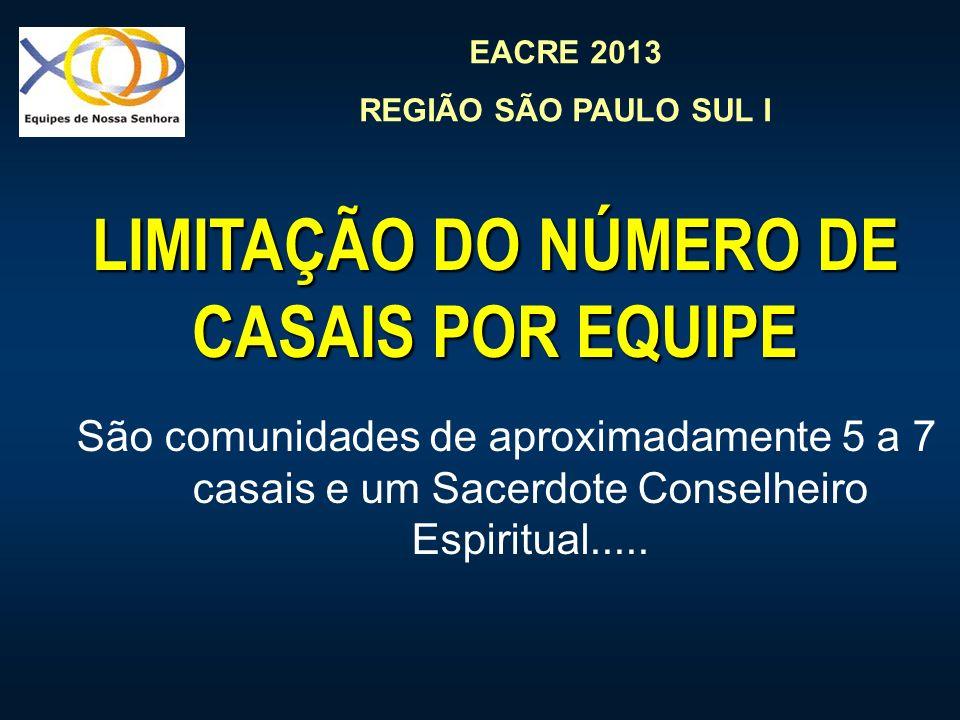 LIMITAÇÃO DO NÚMERO DE CASAIS POR EQUIPE