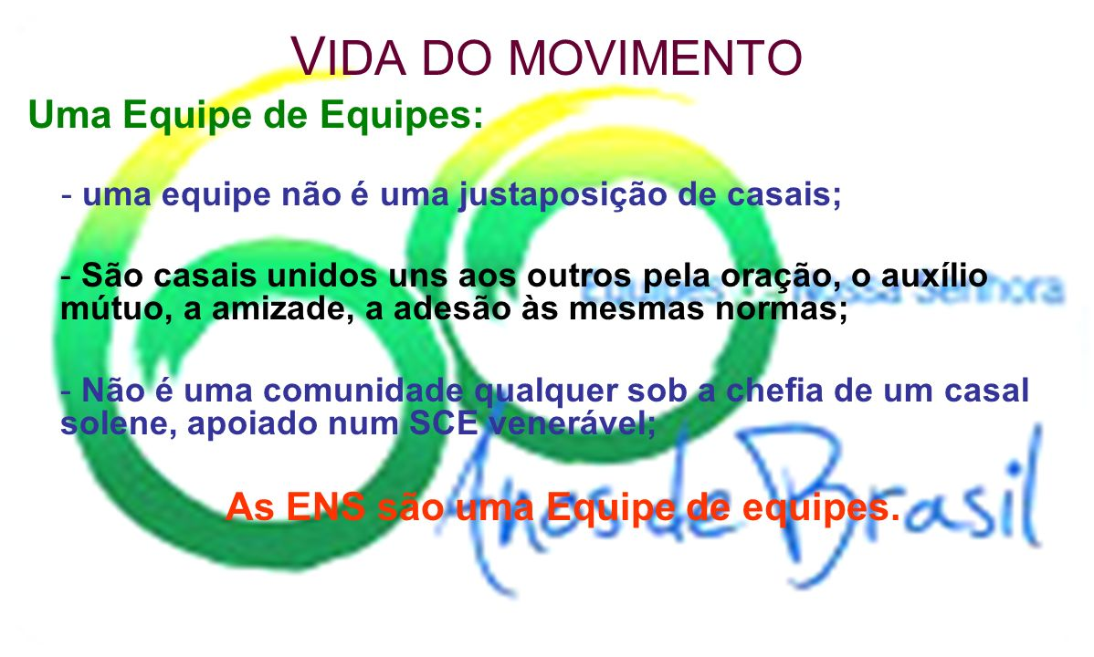 As ENS são uma Equipe de equipes.