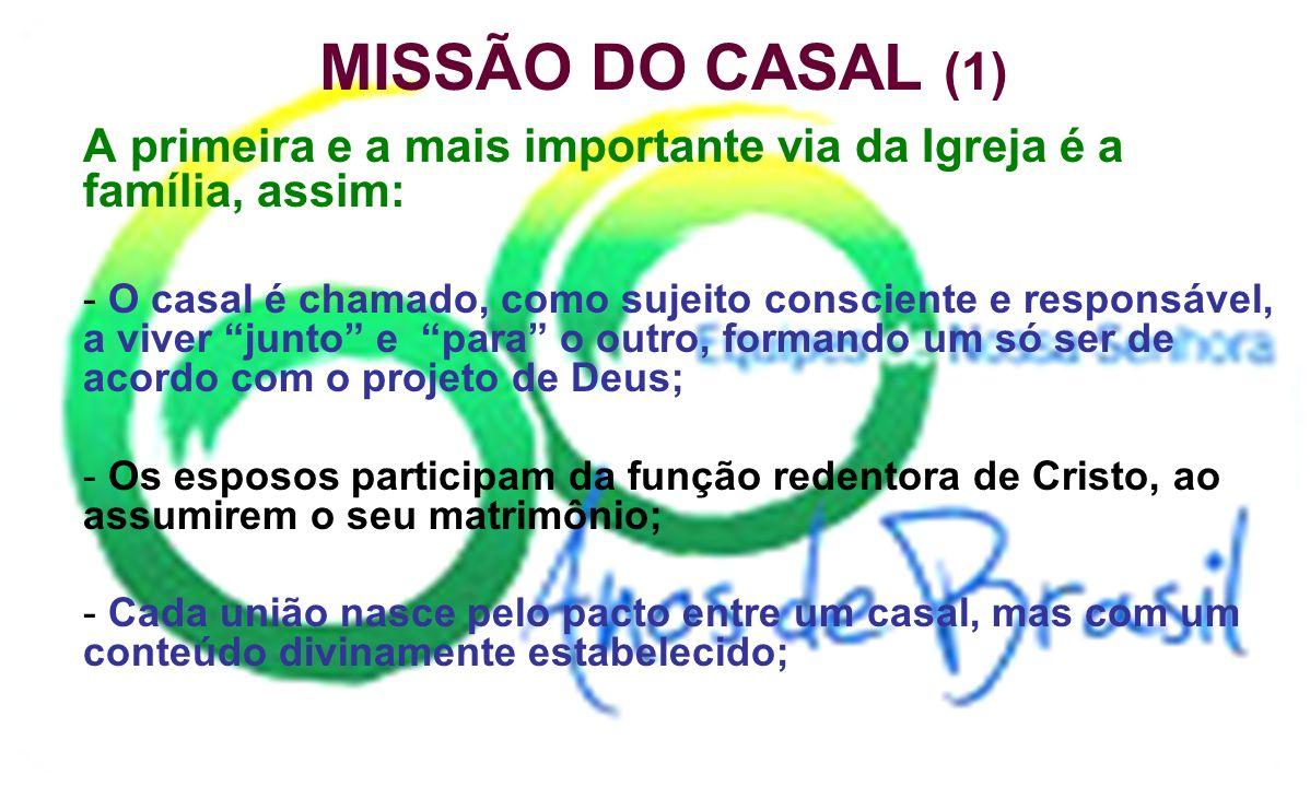 MISSÃO DO CASAL (1) A primeira e a mais importante via da Igreja é a família, assim: