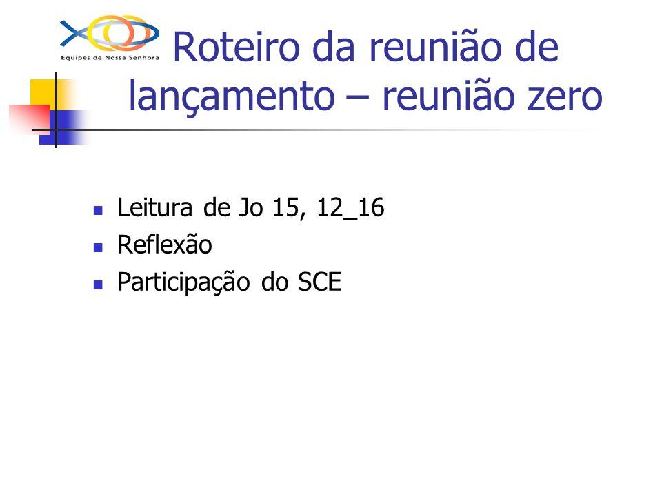 Roteiro da reunião de lançamento – reunião zero