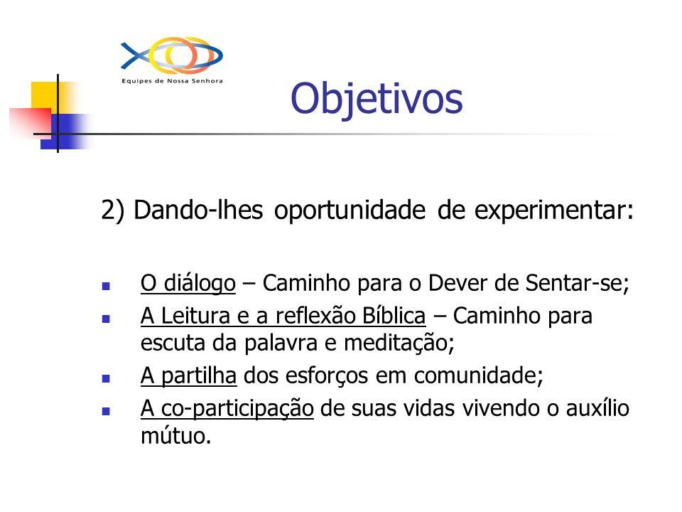 Objetivos 2) Dando-lhes oportunidade de experimentar:
