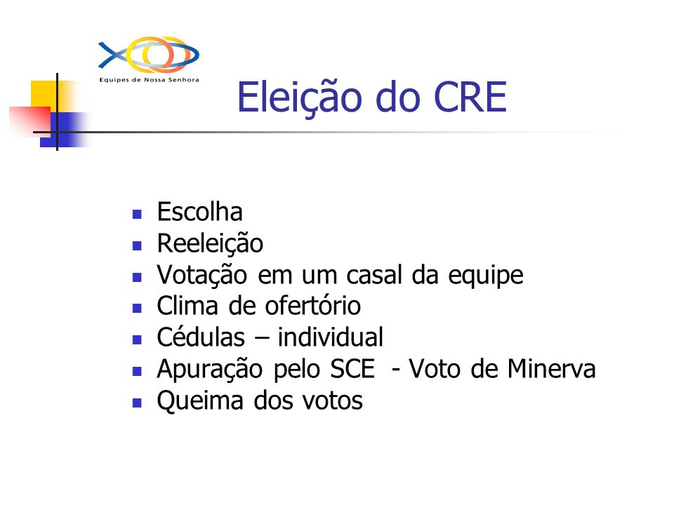 Eleição do CRE Escolha Reeleição Votação em um casal da equipe