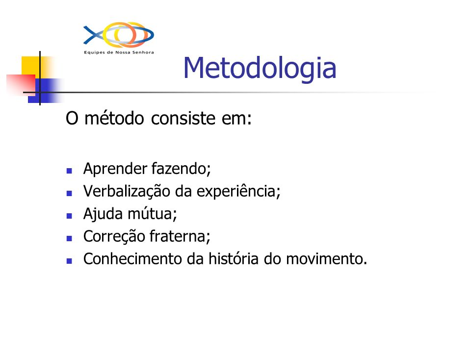 Metodologia O método consiste em: Aprender fazendo;