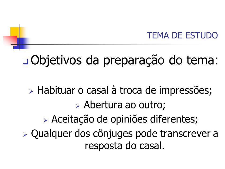 Objetivos da preparação do tema: