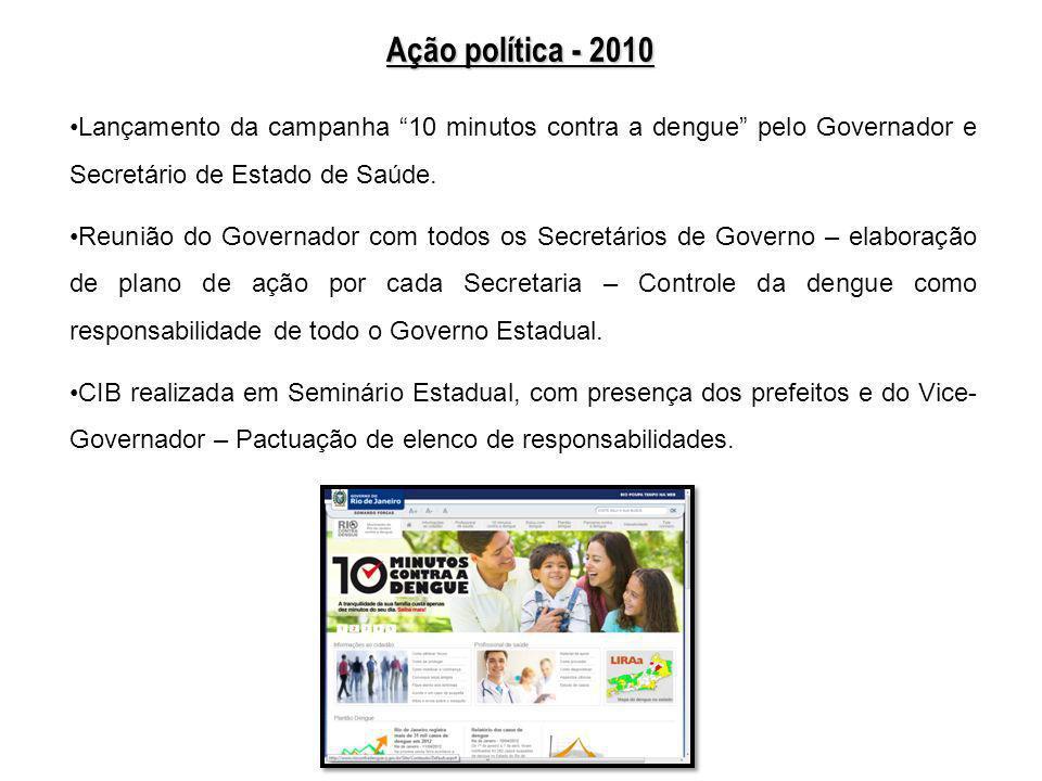 Ação política - 2010Lançamento da campanha 10 minutos contra a dengue pelo Governador e Secretário de Estado de Saúde.
