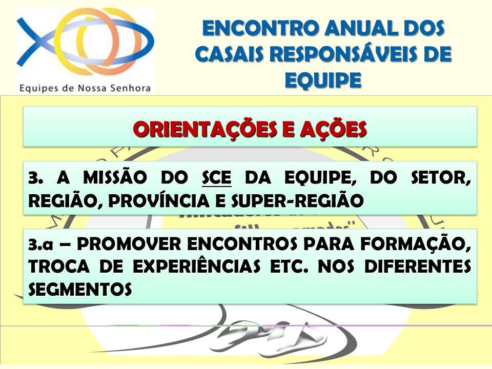 ORIENTAÇÕES E AÇÕES 3. A MISSÃO DO SCE DA EQUIPE, DO SETOR, REGIÃO, PROVÍNCIA E SUPER-REGIÃO.