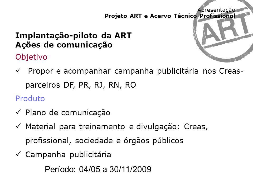 Período: 04/05 a 30/11/2009 Implantação-piloto da ART