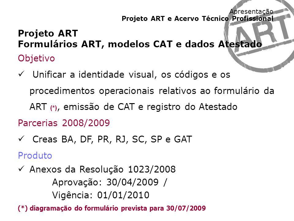 Formulários ART, modelos CAT e dados Atestado Objetivo