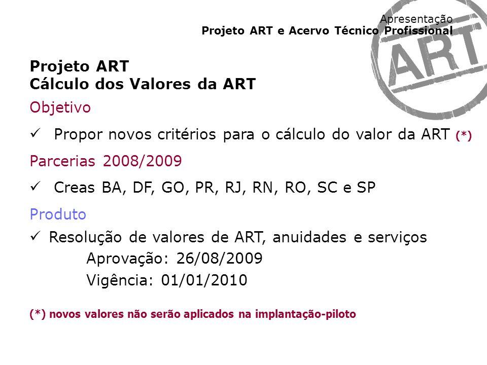 Cálculo dos Valores da ART Objetivo