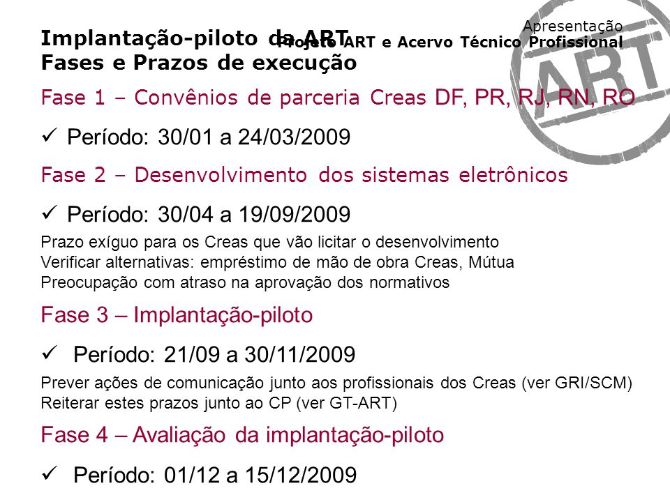 Fase 3 – Implantação-piloto Período: 21/09 a 30/11/2009