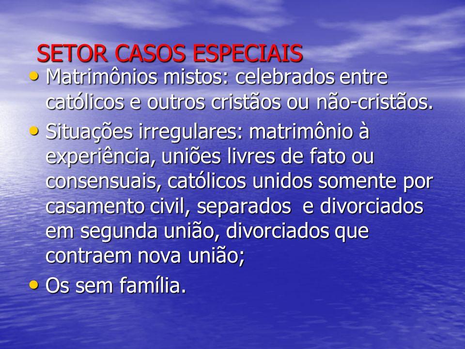 SETOR CASOS ESPECIAIS Matrimônios mistos: celebrados entre católicos e outros cristãos ou não-cristãos.