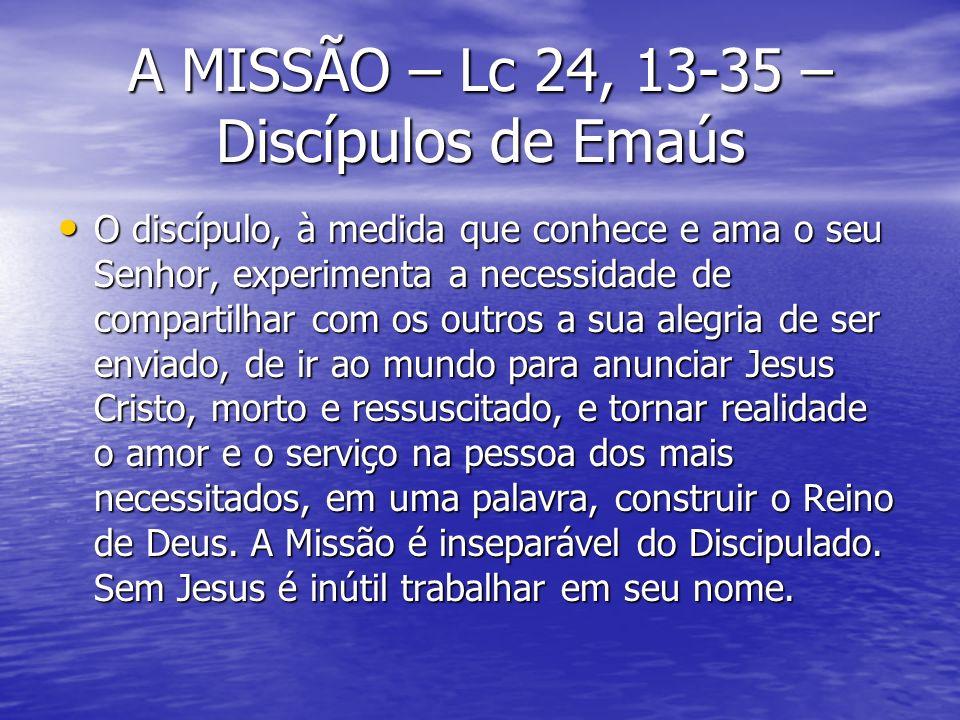 A MISSÃO – Lc 24, 13-35 – Discípulos de Emaús