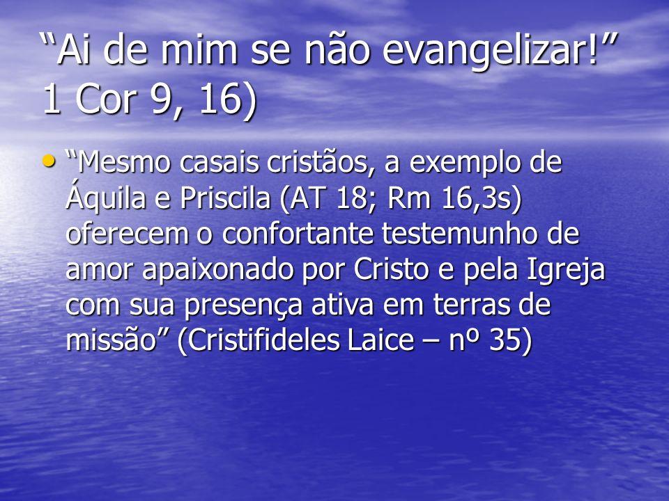 Ai de mim se não evangelizar! 1 Cor 9, 16)