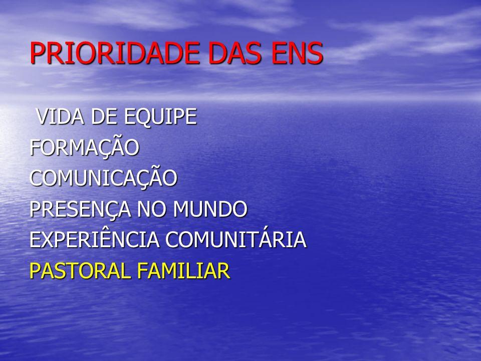 PRIORIDADE DAS ENS VIDA DE EQUIPE FORMAÇÃO COMUNICAÇÃO PRESENÇA NO MUNDO EXPERIÊNCIA COMUNITÁRIA PASTORAL FAMILIAR