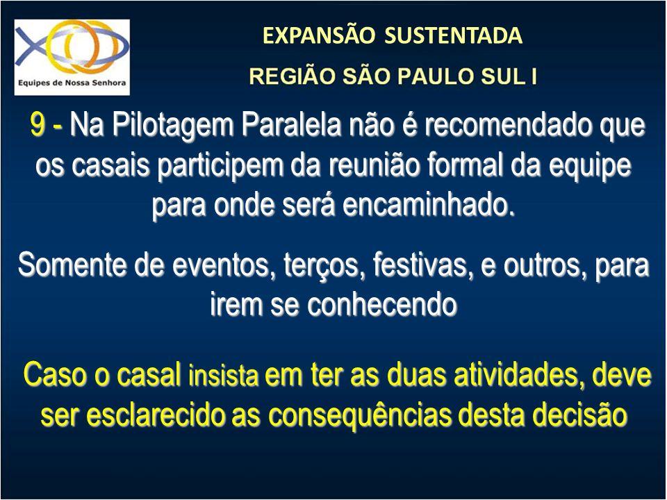 9 - Na Pilotagem Paralela não é recomendado que os casais participem da reunião formal da equipe para onde será encaminhado.