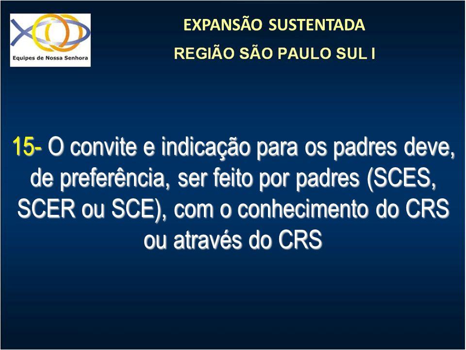 15- O convite e indicação para os padres deve, de preferência, ser feito por padres (SCES, SCER ou SCE), com o conhecimento do CRS ou através do CRS