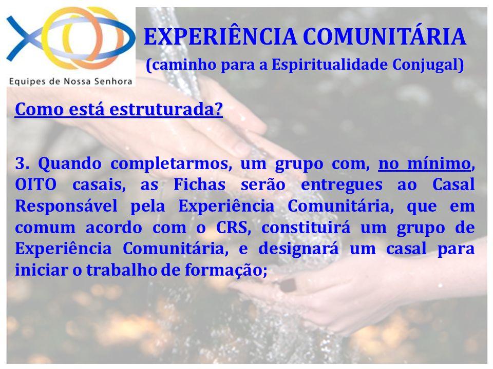 EXPERIÊNCIA COMUNITÁRIA (caminho para a Espiritualidade Conjugal)