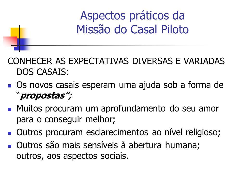 Aspectos práticos da Missão do Casal Piloto