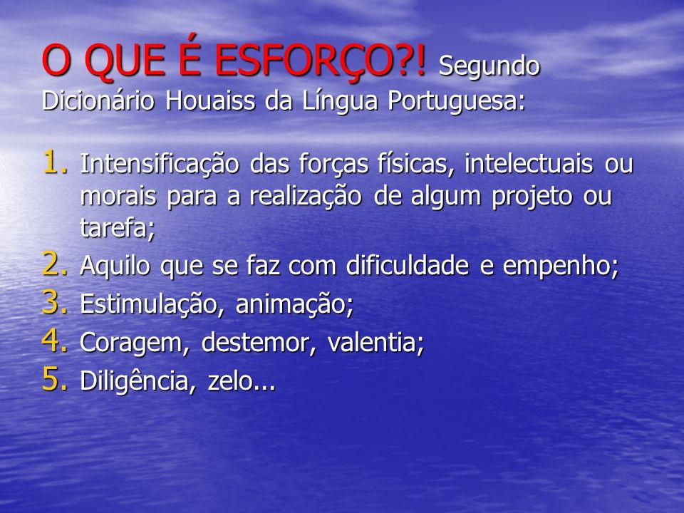 O QUE É ESFORÇO ! Segundo Dicionário Houaiss da Língua Portuguesa: