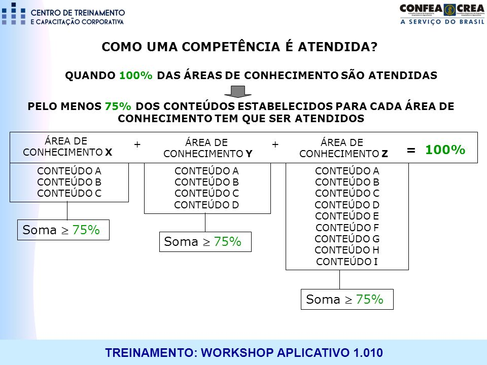 QUANDO 100% DAS ÁREAS DE CONHECIMENTO SÃO ATENDIDAS