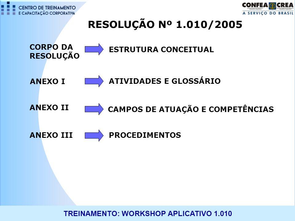 RESOLUÇÃO Nº 1.010/2005 CORPO DA RESOLUÇÃO ESTRUTURA CONCEITUAL