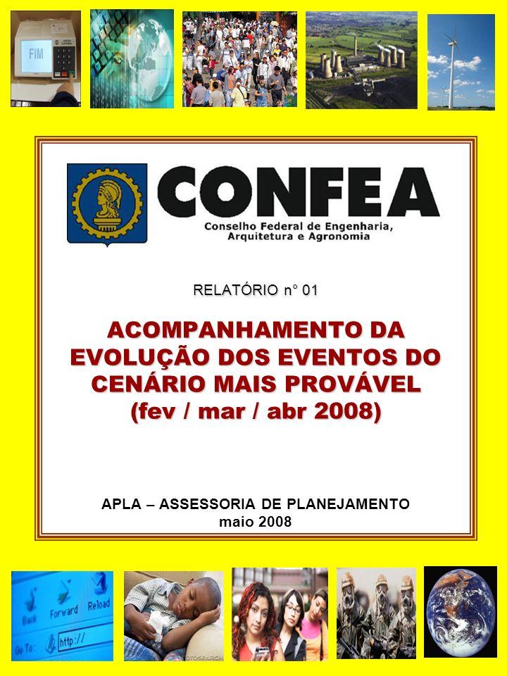 RELATÓRIO n° 01 ACOMPANHAMENTO DA EVOLUÇÃO DOS EVENTOS DO CENÁRIO MAIS PROVÁVEL (fev / mar / abr 2008) APLA – ASSESSORIA DE PLANEJAMENTO maio 2008