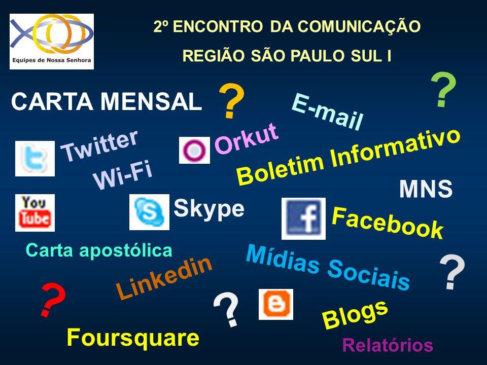 CARTA MENSAL E-mail Orkut Twitter Boletim Informativo Wi-Fi