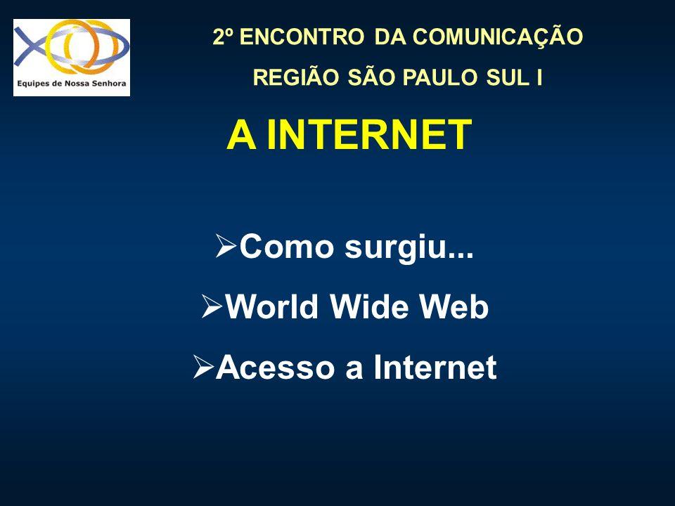 A INTERNET Como surgiu... World Wide Web Acesso a Internet
