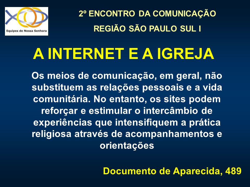 A INTERNET E A IGREJA