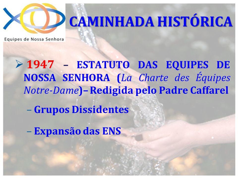 CAMINHADA HISTÓRICA1947 – ESTATUTO DAS EQUIPES DE NOSSA SENHORA (La Charte des Équipes Notre-Dame)– Redigida pelo Padre Caffarel.