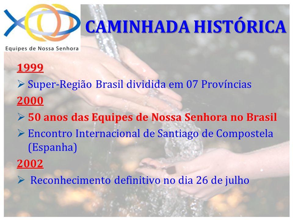CAMINHADA HISTÓRICA 1999 Super-Região Brasil dividida em 07 Províncias
