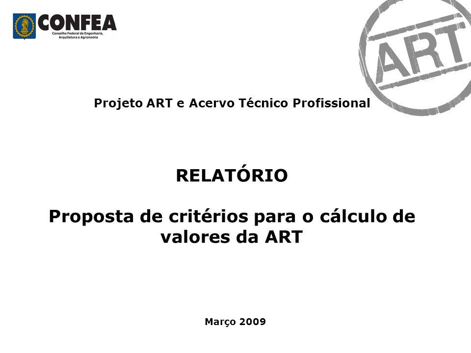 RELATÓRIO Proposta de critérios para o cálculo de valores da ART