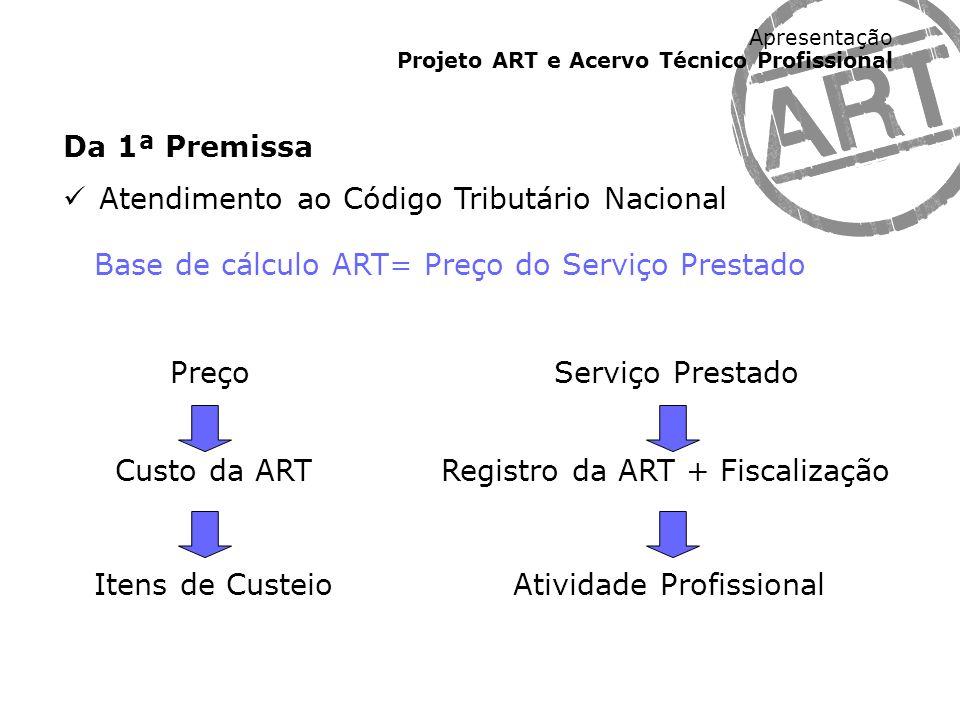 Da 1ª Premissa Atendimento ao Código Tributário Nacional. Base de cálculo ART= Preço do Serviço Prestado.