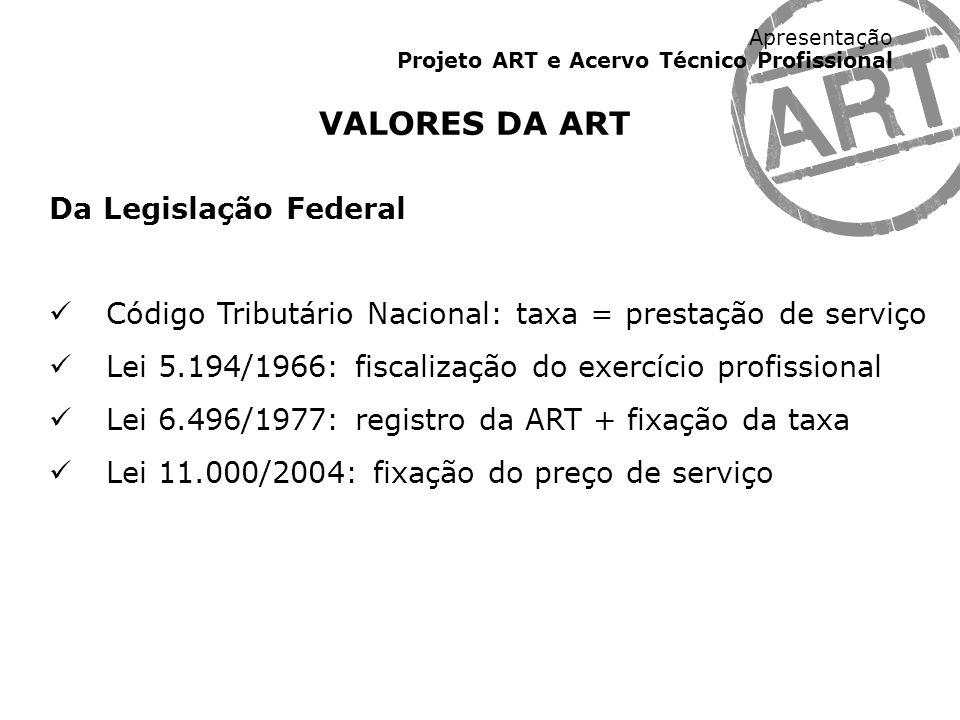 VALORES DA ART Da Legislação Federal