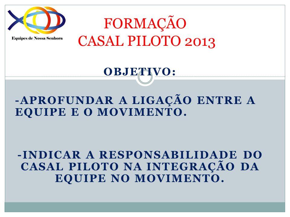 FORMAÇÃO CASAL PILOTO 2013 OBJETIVO: