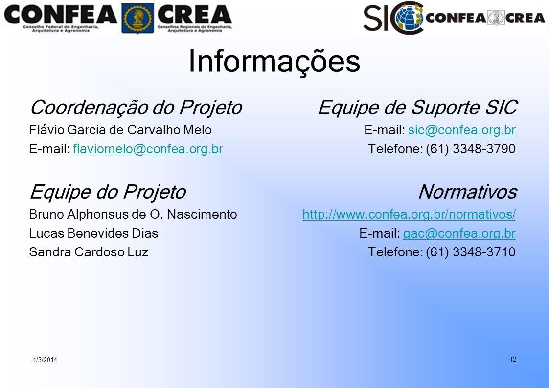 Informações Coordenação do Projeto Equipe do Projeto