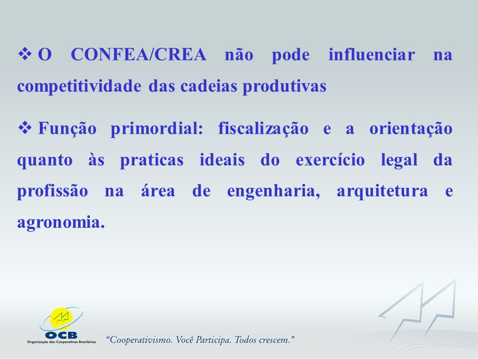 O CONFEA/CREA não pode influenciar na competitividade das cadeias produtivas