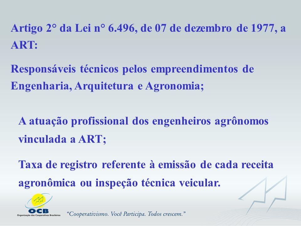 Artigo 2° da Lei n° 6.496, de 07 de dezembro de 1977, a ART: