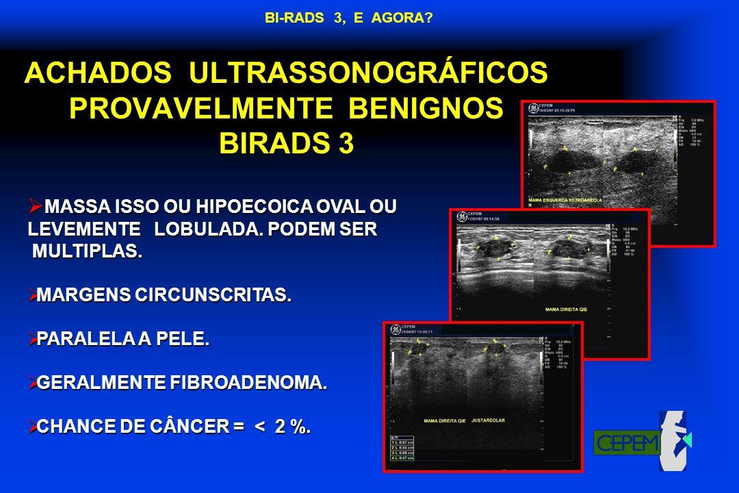 ACHADOS ULTRASSONOGRÁFICOS PROVAVELMENTE BENIGNOS BIRADS 3
