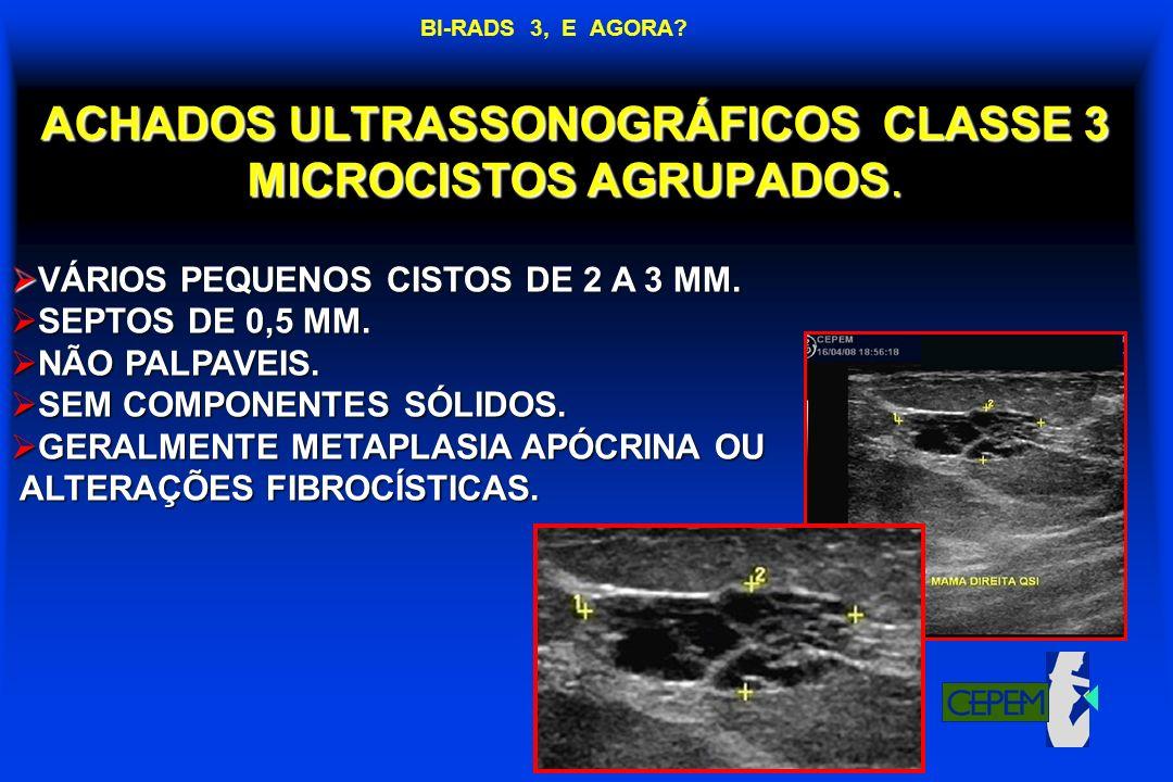 ACHADOS ULTRASSONOGRÁFICOS CLASSE 3 MICROCISTOS AGRUPADOS.