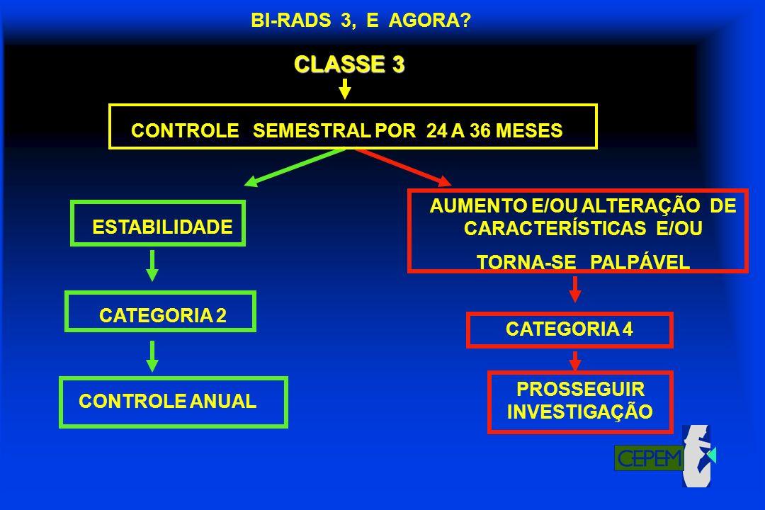 CLASSE 3 BI-RADS 3, E AGORA CONTROLE SEMESTRAL POR 24 A 36 MESES