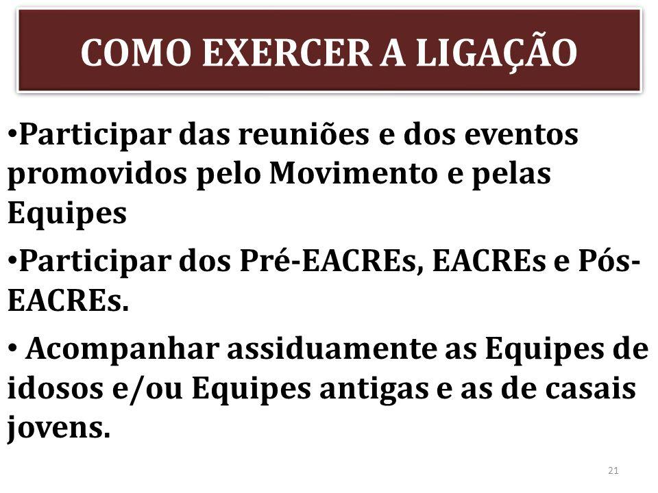COMO EXERCER A LIGAÇÃO Participar das reuniões e dos eventos promovidos pelo Movimento e pelas Equipes.