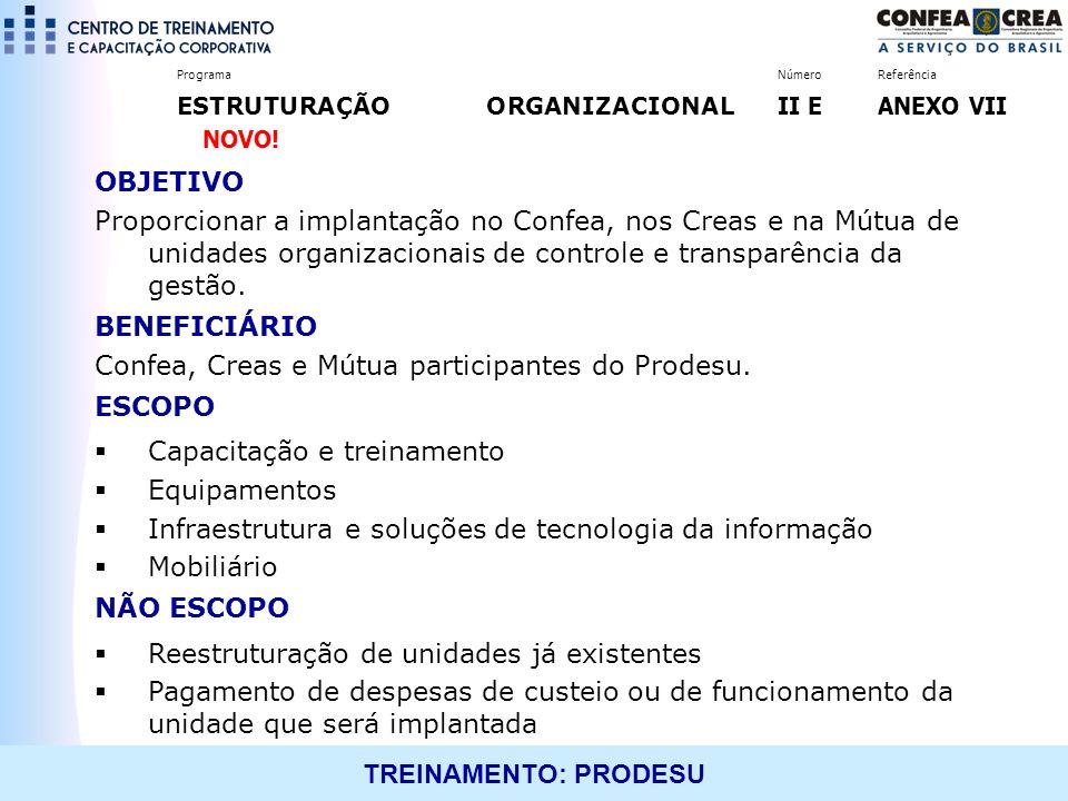 Confea, Creas e Mútua participantes do Prodesu. ESCOPO