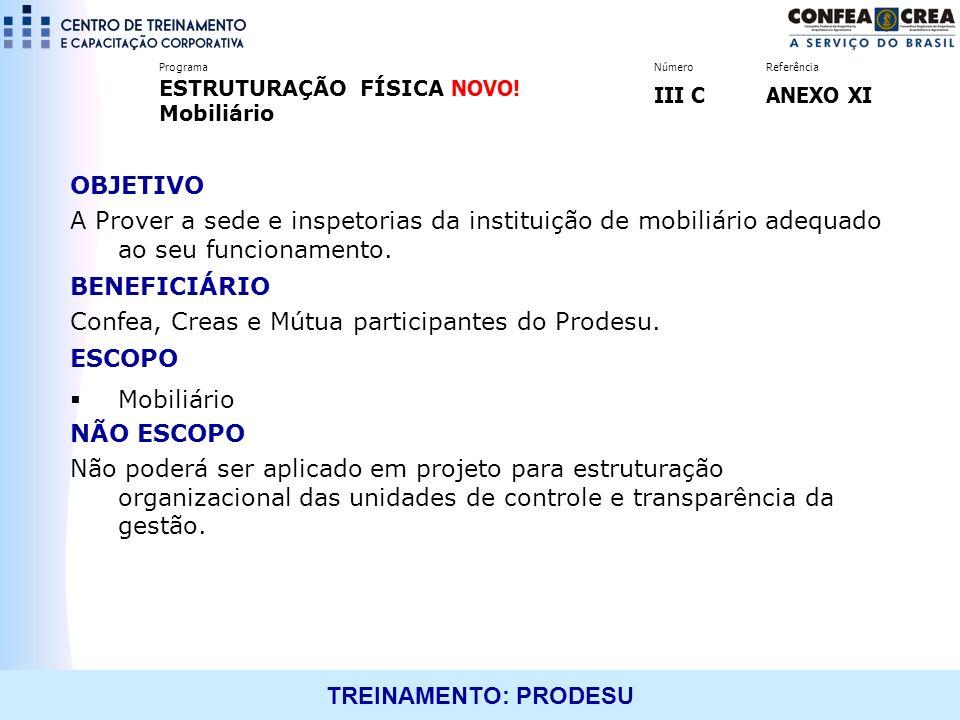 Confea, Creas e Mútua participantes do Prodesu. ESCOPO Mobiliário